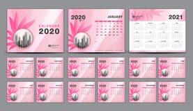 Free Calendar 2020-2021, Set Desk Calendar 2020 Template Vector, Cover Design, Set Of 12 Months, Week Starts Sunday, Stationery Royalty Free Stock Photos - 159882068