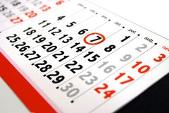 Calendar. With encircled date with red pen Royalty Free Stock Photography