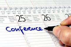 Calendar. Conference written in a calendar Royalty Free Stock Photo