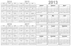 Calendar. 2013 / 2014 / 2015 / 2016 / 2017 Royalty Free Stock Photo