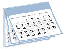 Calendar. In white with black numbers and text, with year unspecified and a blue surround isolated on white background stock illustration
