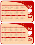 Calendar. Red calendar 2013-2014 in the form of labels, vector Stock Images