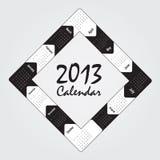 Calendar. Black and white 2013 calendar over white background Stock Images