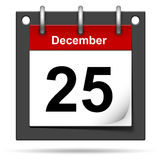 Calendar. 3D illustration of a calendar on December 25 royalty free illustration