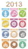Calendar. For year 2013 with color icons Royalty Free Stock Photo