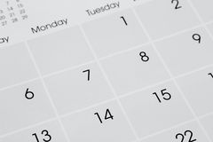 Calendar. Closeup of numbers on calendar page Stock Photos
