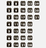 Calendar. Black icons from 1 to 31 Royalty Free Stock Photo