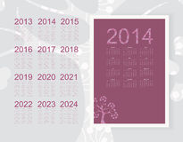Calendar 2014. Calendar 2013 2014 2015 2016 2017 2018 2019 2020 2022 2023 2024 royalty free illustration