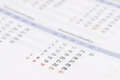 Calendar. Closeup of calendar, focus on day 30 royalty free stock photography