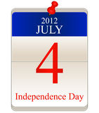 Calendar for 4th July. Vector of calendar for 4th July for Independence Day stock illustration