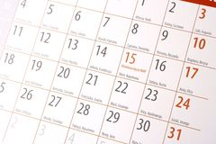 Calendar Stock Photography