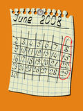 Calendar. For a wall, June Royalty Free Stock Photo