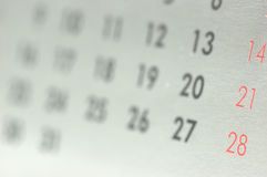 Calendar. Detail shot stock images
