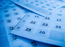 Calendar. Close up blue calendar page Stock Images