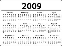 Calendar. Simple black and white calendar Royalty Free Stock Photography