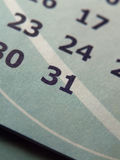 Calendar. Closeup of calendar page, date 31st Royalty Free Stock Images