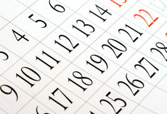 Calendar. Close up shot for background Stock Photography