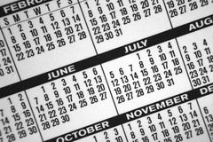 Calendar. A great background made of a close-up from a pocket calendar Stock Image