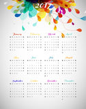 2017 calendar with abstract background. With colorful leafs Stock Illustration