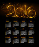 Calendar for 2016 on abstract background. Vector. Illustration EPS 10 Royalty Free Stock Photography