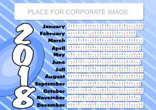 2018 calendar with abstract blue background. Unusual design, month in strip shape. Horizontally orientation, place for corporate image and information Stock Photos