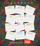 Calendar 2015. Abstract Calendar 2015 - cardboard with months on a multicolored background Stock Photography
