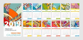 2019 calendar abstract contemporary art  set. Desk, screen, desktop months 2019, colorful 2019 calendar template. Agenda pattern. Psychedelic sketched calendar stock illustration