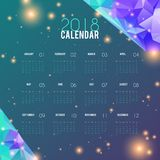 Calendar 2018 abstract design. Planner template, stylish monthly schedule. Week starts from monday. Vector illustration. For business, corporate stationery Royalty Free Stock Image