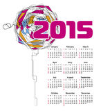 Calendar 2015 Abstract flower. Vector illustration Stock Photos