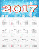 Calendar with abstract red background. Calendar with abstract blue background 2017. Week starts from Sunday. Vector design template Stock Image