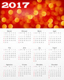 Calendar with abstract red background. 2017. Week starts from Sunday. Vector design template Stock Photos