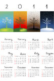 Calendar with abstract trees. 2011 Calendar with abstract seasons Stock Illustration