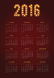 2016 Calendar. Abstract. Week Starts from Sunday. Vector illustration. Print Ready Royalty Free Stock Images