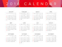 2016 Calendar. Abstract. Week Starts from Sunday. Vector illustration. Print Ready Royalty Free Stock Photography