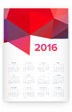 2016 Calendar. Abstract. Week Starts from Sunday. Vector illustration. Print Ready Stock Photography
