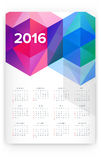 2016 Calendar. Abstract. Week Starts from Sunday. Vector illustration. Print Ready Stock Image