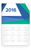 2016 Calendar. Abstract. Week Starts from Sunday. Vector illustration. Print Ready Stock Images
