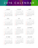 2016 Calendar. Abstract. Week Starts from Sunday. Vector illustration. Print Ready Royalty Free Stock Image