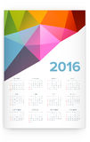 2016 Calendar. Abstract. Week Starts from Sunday. Vector illustration. Print Ready Royalty Free Stock Photo