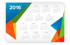 2016 Calendar. Abstract. Week Starts from Sunday. Vector illustration. Print Ready Royalty Free Stock Photos