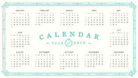 2016 Calendar. Abstract. Week Starts from Sunday. Vector illustration. Print Ready Stock Photos