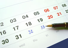 Calendar with the added numbers Royalty Free Stock Photography
