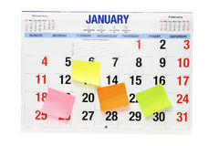 Calendar with Adhesive Note Papers Royalty Free Stock Photography