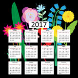 Calendar for 2017, against the background of an abstract floral Royalty Free Stock Photography