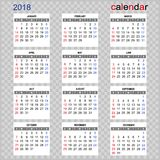 Calendar against the background in the cell for home and work. Vector image of the calendar for 2018 year. Calendar on a background in a box Stock Photo