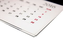 Calendar against white background Stock Images