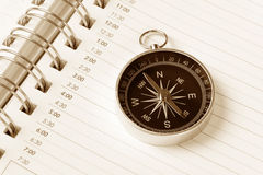 Calendar agenda and compass Stock Photo