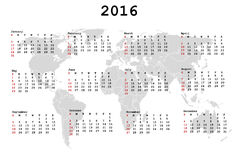 2016 Calendar for agenda with world map. Over white background vector illustration