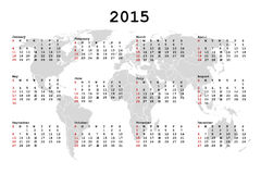 2015 Calendar for agenda with world map Stock Image