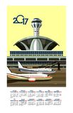 2017 Calendar Airport. Vector illustration calendar 2017 airport building near airfield Royalty Free Stock Photo